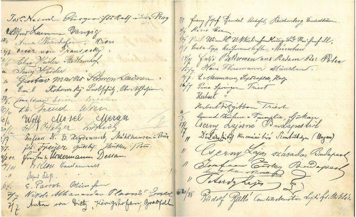 Gaestebuch Inv Nr 02050 Sigmund Freud Reichenhallmuseum